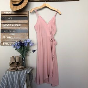 {NRFB} Pink Scalloped Wrap Dress size M